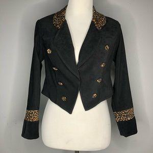 Vintage | Cropped Leopard Print Blazer